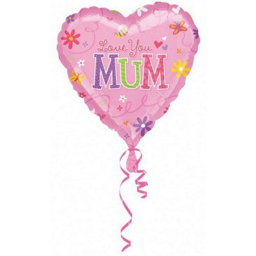Love you Mom, Szeretlek anya Fólia lufi 43 cm