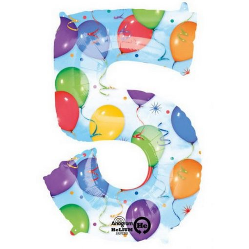 Streamers óriás szám fólia lufi 5-ös, 58*83 cm