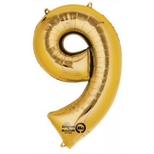 Gold óriás szám fólia lufi 9-es, 86*55 cm
