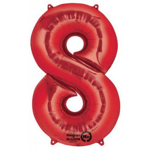 Red óriás szám fólia lufi 8-as, 86*53 cm