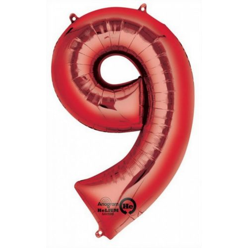 Óriás 9-es Red szám Fólia lufi 86*55 cm