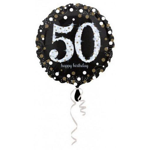 Happy Birthday Gold 50 fólia lufi 43 cm