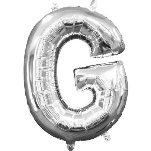 Mini G betű Fólia lufi, Silver 33 cm