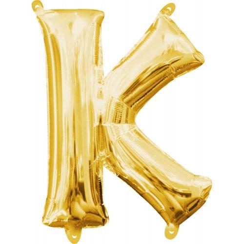Gold, Arany mini K betű fólia lufi 33 cm