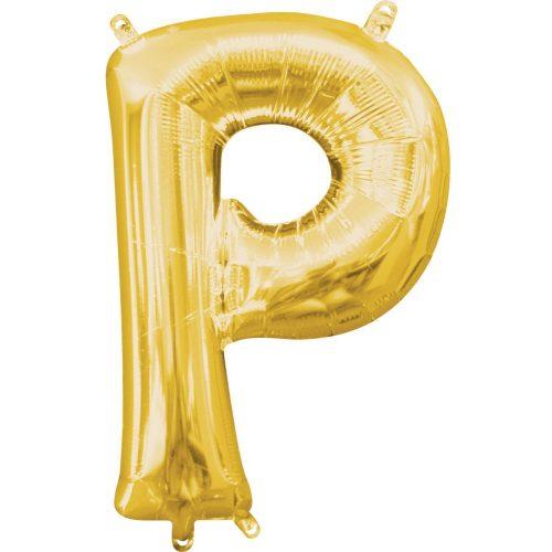 Gold, Arany mini P betű fólia lufi 33 cm
