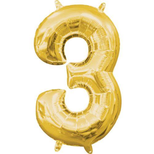 Gold, Arany mini szám fólia lufi 3-as 40 cm