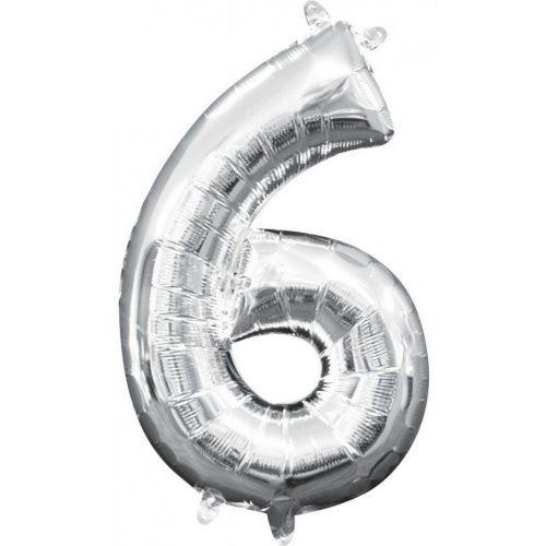 Mini szám Fólia lufi 6-os, Silver 40 cm