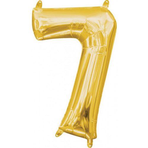 Gold, Arany mini szám fólia lufi 7-es 40 cm