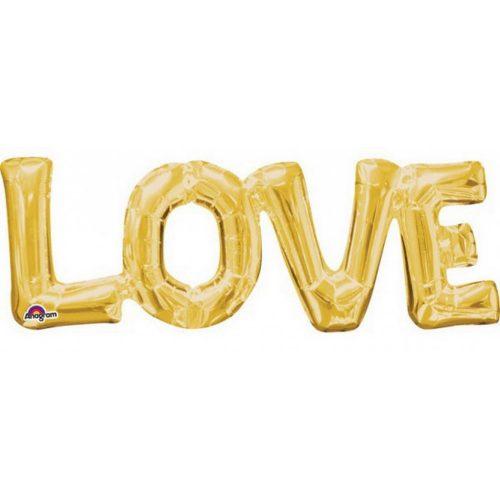 Gold, Arany Love fólia lufi 63*22 cm