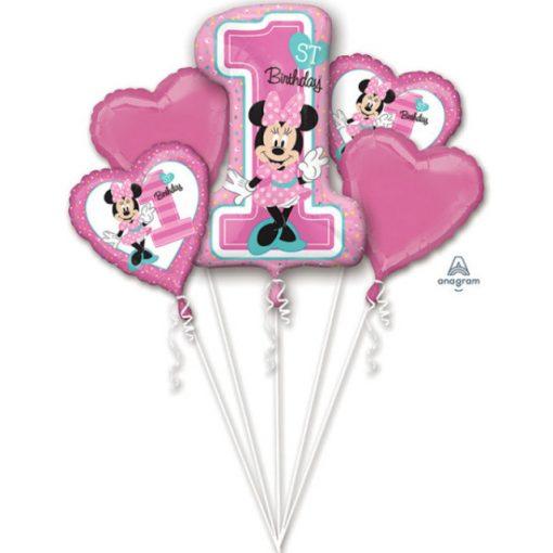 Disney Minnie Első születésnap Fólia lufi 5 db-os szett