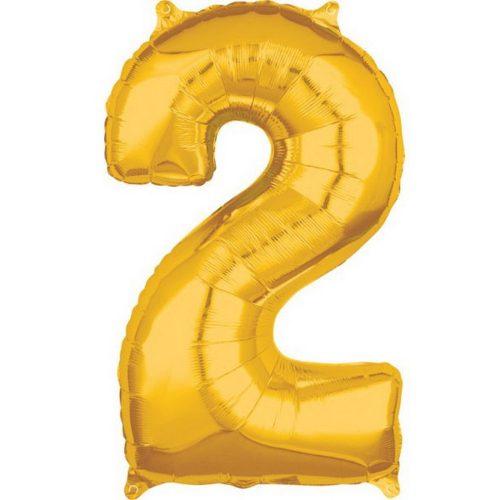 Gold szám fólia lufi 2-es, 66*43 cm