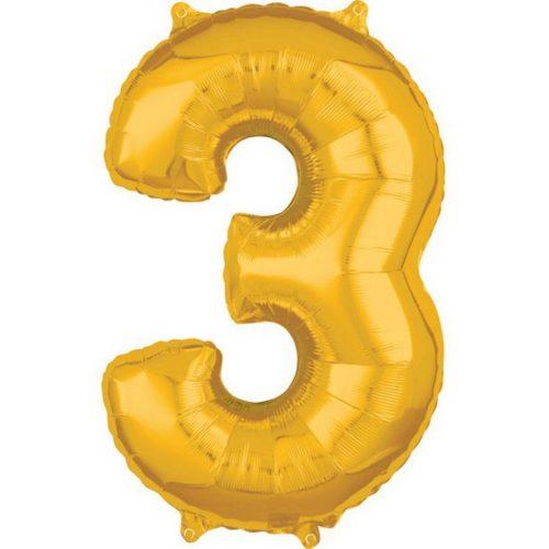 Gold szám fólia lufi 3-as, 66*43 cm