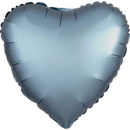 Szatén Steel Blue szív fólia lufi 43 cm