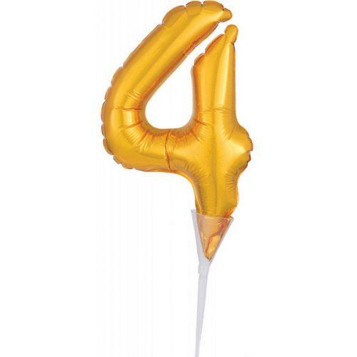 Gold, Arany 4-es szám fólia lufi tortára 15 cm