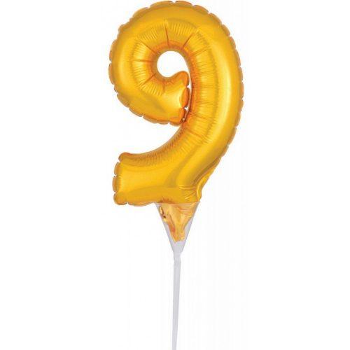 Gold, Arany 9-es szám fólia lufi tortára 15 cm