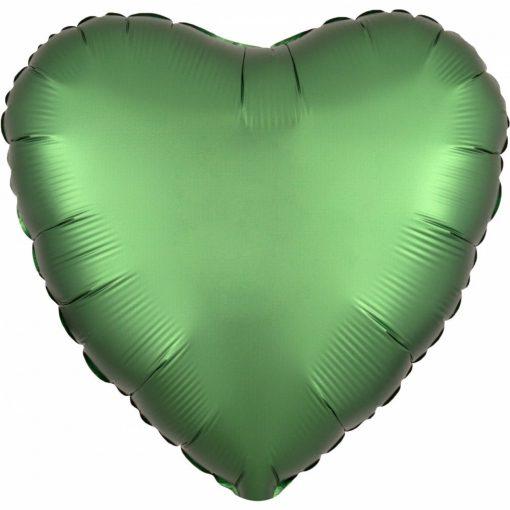 Szatén Emerald szív fólia lufi 43 cm