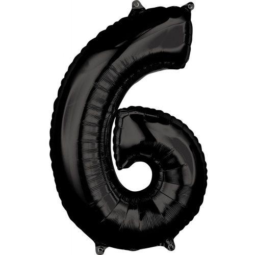 Szám Fólia lufi 6-os, Black 66*43 cm