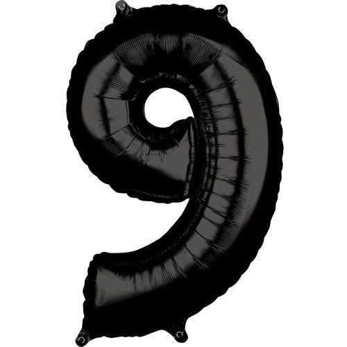 Szám Fólia lufi 9-es, Black 66*43 cm