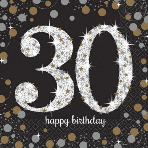 Happy Birthday Gold 30 szalvéta 16 db-os 33*33 cm