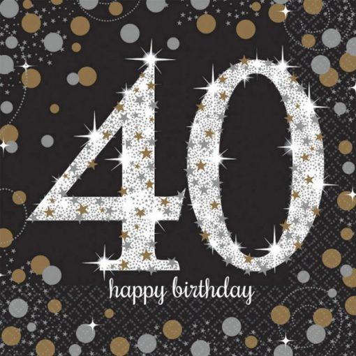 Happy Birthday Gold 40 szalvéta 16 db-os 33*33 cm