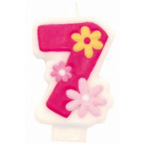 Virágos számgyertya 7-es tortagyertya