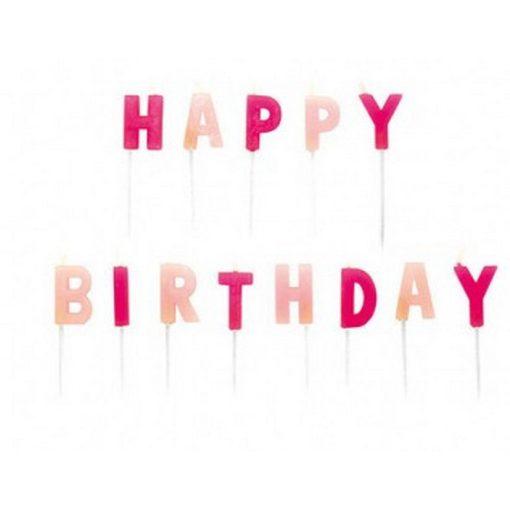 Happy Birthday gyertya, pink