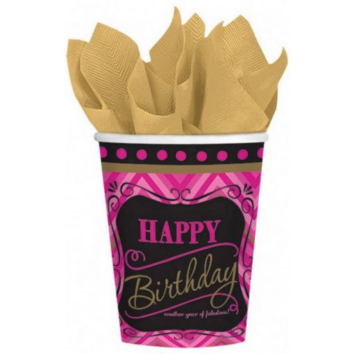 Happy Birthday papír pohár 8 db-os 266 ml