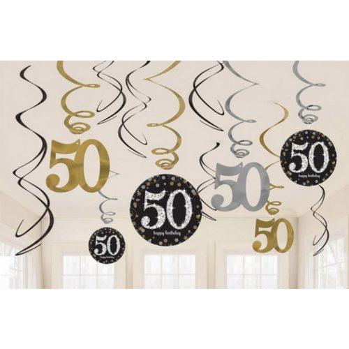 Happy Birthday Gold 50 Szalag dekoráció 12 db-os szett