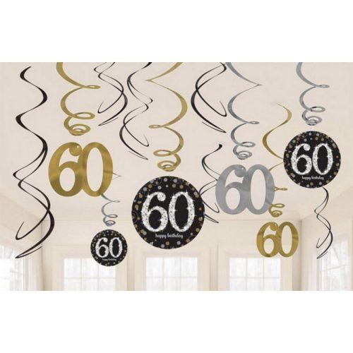 Happy Birthday Gold 60 Szalag dekoráció 12 db-os szett