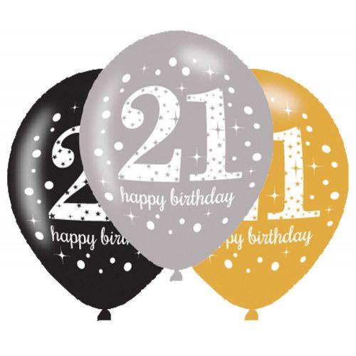 Happy Birthday 21 léggömb, lufi 6 db-os