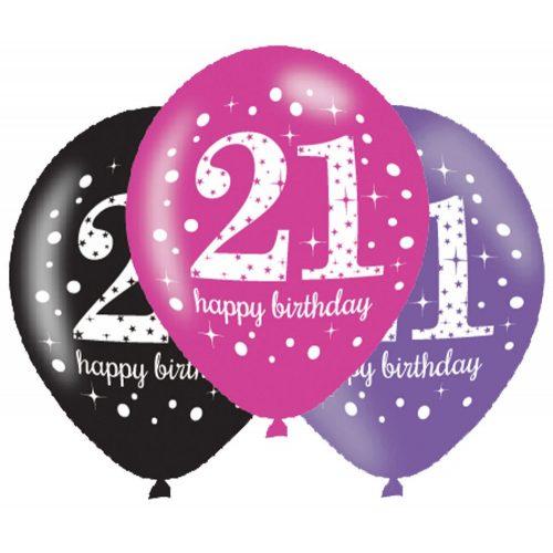 Happy Birthday 21 Pink léggömb, lufi 6 db-os