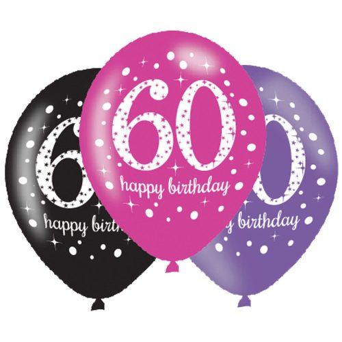 Happy Birthday 60 Pink léggömb, lufi 6 db-os