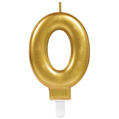 Gold számgyertya 0-ás tortagyertya