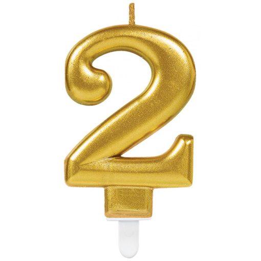 Gold számgyertya 2-es tortagyertya