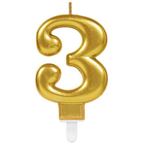 Gold számgyertya 3-as tortagyertya