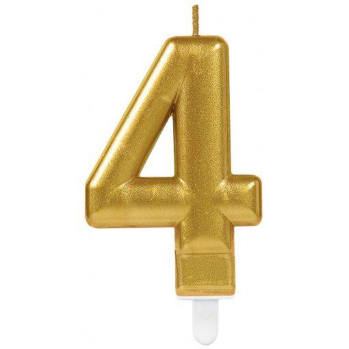 Gold számgyertya 4-es tortagyertya