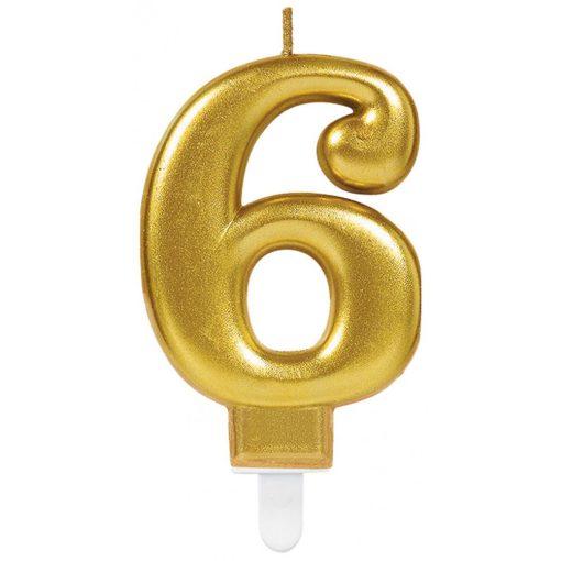 Gold számgyertya 6-os tortagyertya