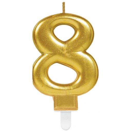 Gold számgyertya 8-as tortagyertya