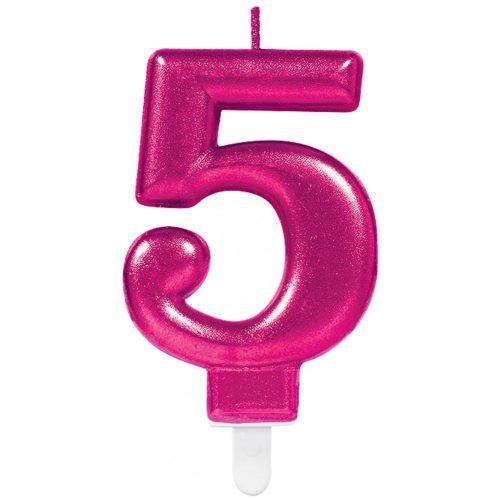 Pink számgyertya 5-ös tortagyertya