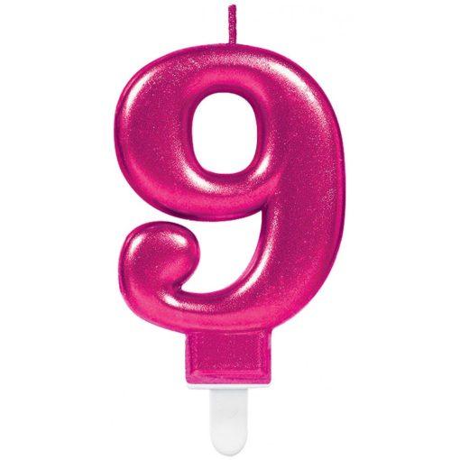Pink számgyertya 9-es tortagyertya