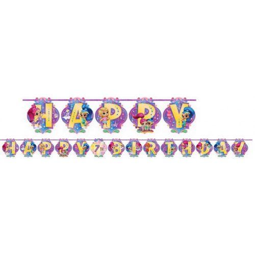 Shimmer és Shine Happy Birthday felirat 200 cm