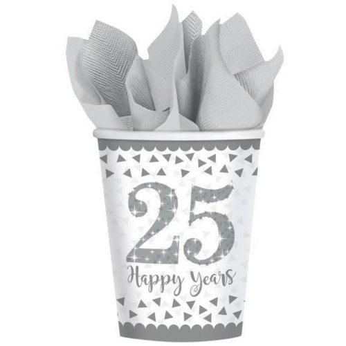 25. Anniversary, Házassági évforduló papír pohár 8 db-os 266 ml