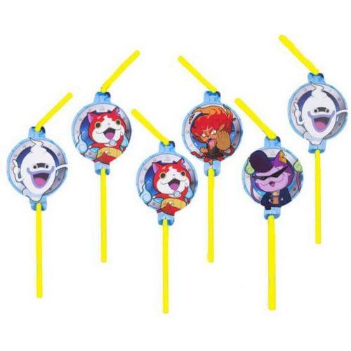 Yo-kai Watch szívószál, 8 db-os szett