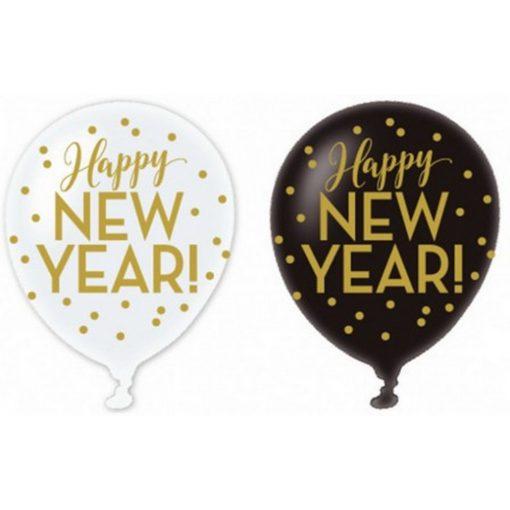Happy New Year léggömb, lufi 6 db-os