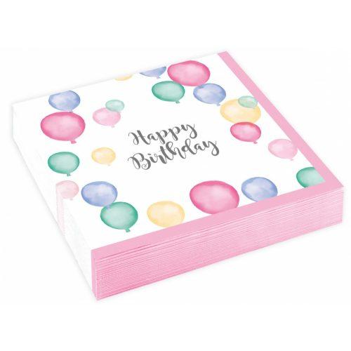 Happy Birthday szalvéta 20 db-os, 25*25 cm