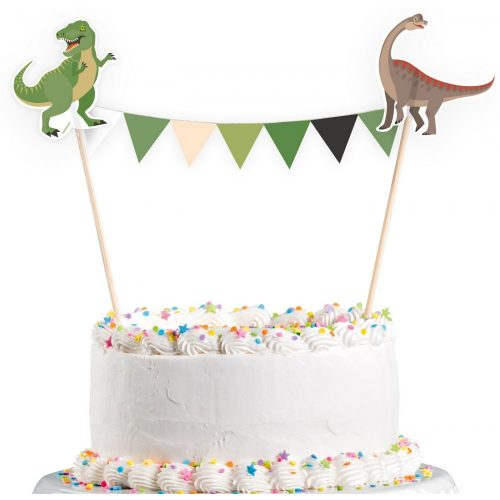 Dinoszaurusz zászlófüzér tortára