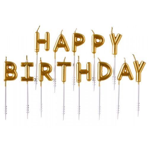 Happy Birthday Gold gyertya 7,3 cm