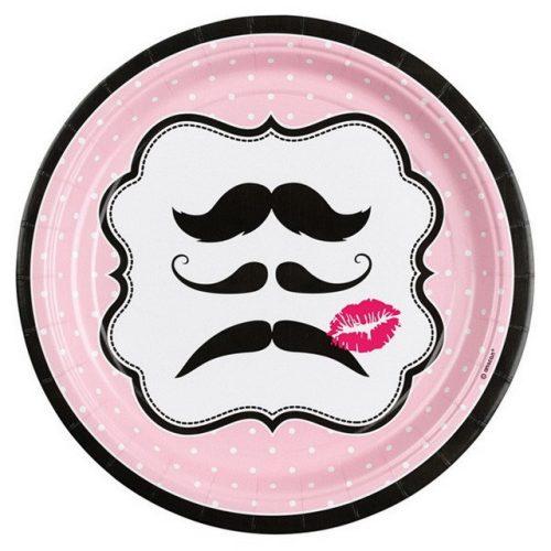 Mustache, Bajusz papírtányér 8 db-os 22,9 cm