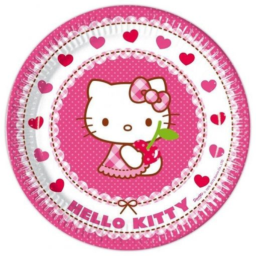 Hello Kitty Hearts Papírtányér 8 db-os 23 cm