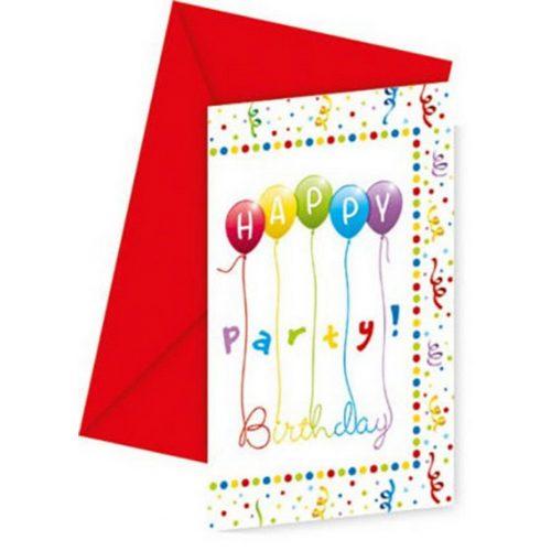 Happy Birthday Streamers Party Meghívó 6 db-os